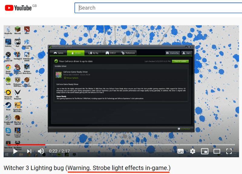 Screenshot of a YouTube video. The video is titled, Witcher 3 Lighting bug. Warning. Strobe light effects in game.