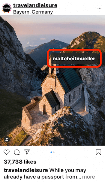 instagram post by @travelandleisure showing a picture of a house on a mountain edge with a view of the water tagging @malteheitmueller in the image