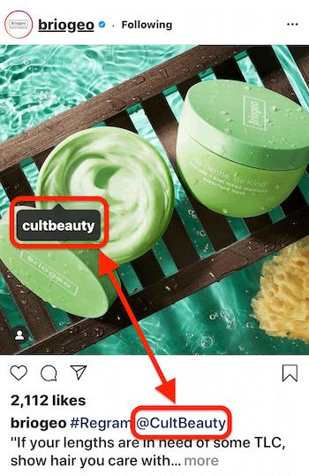 Instagram-Post von @briogeo mit einem Post-Tag und einer Beschriftung @mention für @cultbeauty, dessen Produkt im Bild angezeigt wird