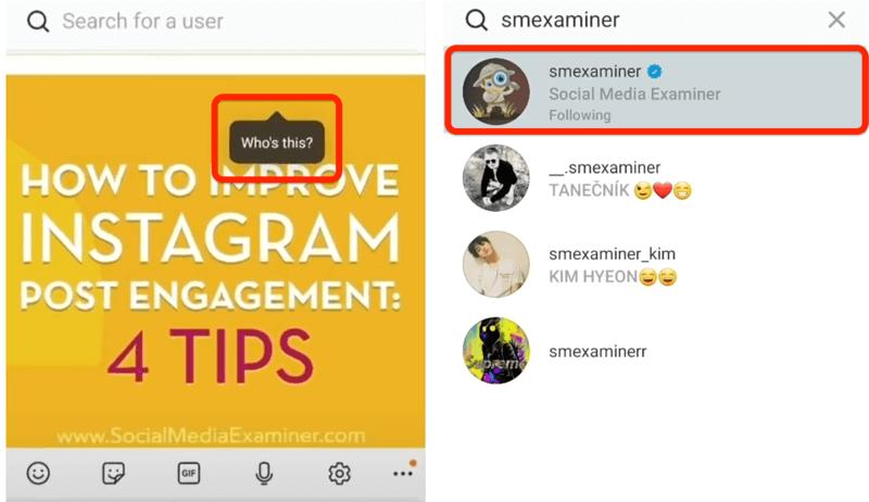 Instagram-Post-Option, mit der jemand nach dem Tippen markiert werden kann