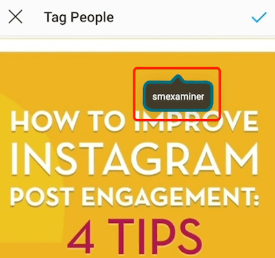 example of an instagram post tag once it has been applied