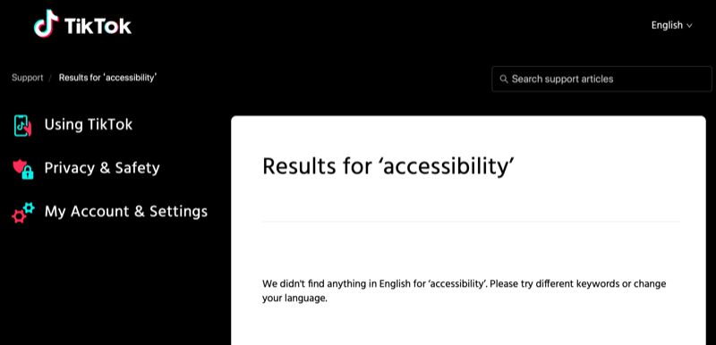 The screen reads, Results for accessibility. We didn't find anything in English for accessibility. Please try different keywords or change your language.