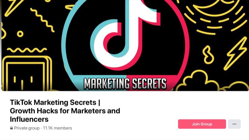 screenshot of the tiktok marketing secrets facebook group cover photo and header