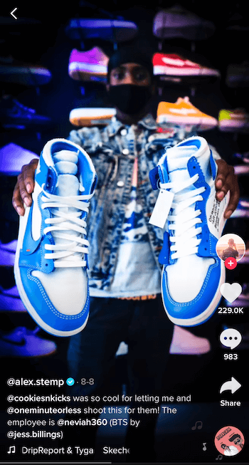 tiktop post by @alex.stemp showing his tennis shoe product in blue and white