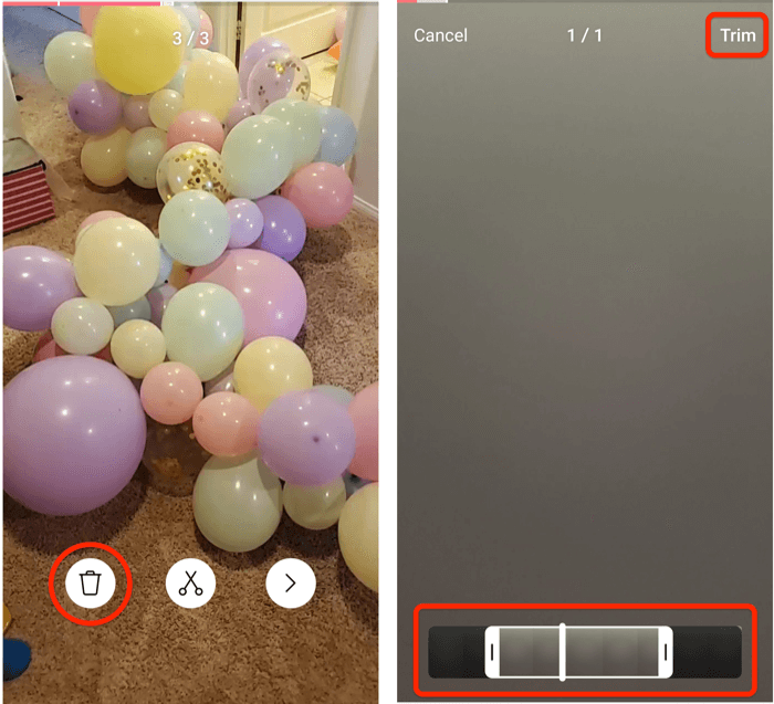 screenshots of instagram reels trim menu options and the trim screen view