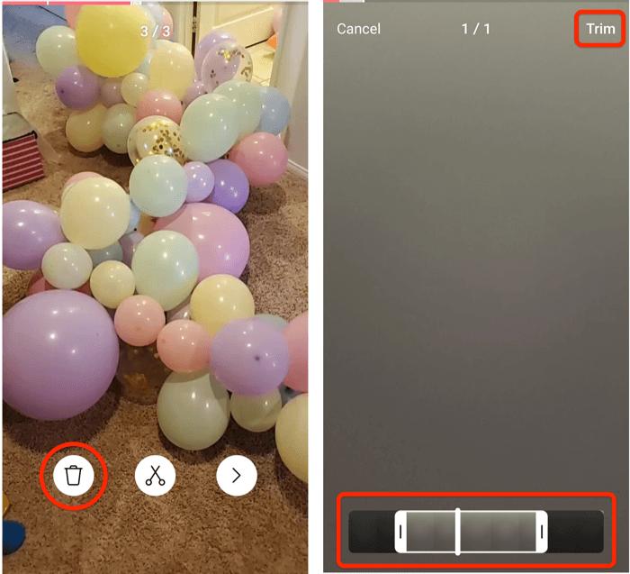 schermafbeeldingen van de trimmenu-opties van instagram-rollen en de weergave van het bijsnijdscherm