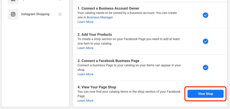 view shop button to preview what your facebook shop looks like on your page