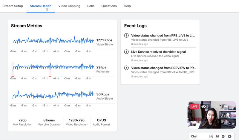 voorbeeld van Facebook-livestream zoals het wordt weergegeven voor de streamhost bij het bekijken van streamstatistieken onder streamgezondheid, inclusief grafieken voor videobitsnelheid, framesnelheid en audiobitsnelheid