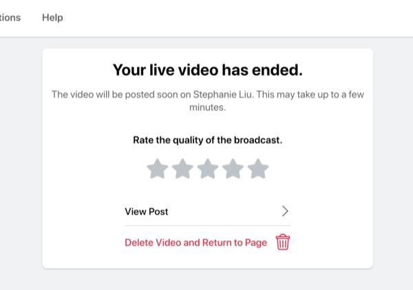 optie om de kwaliteit van de uitzending te beoordelen nadat je Facebook-livestream is afgelopen, en om de post van de livestream te bekijken of om de stream te verwijderen