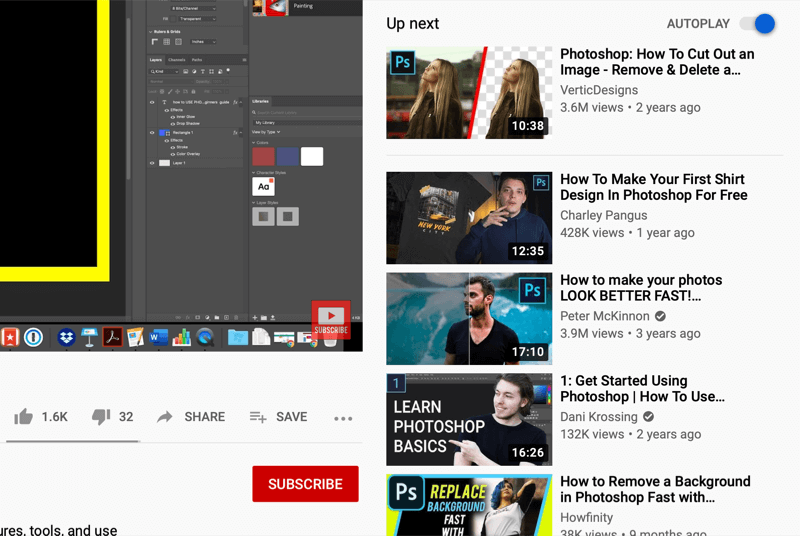 youtube video watch screen showing autoplay videos on the right side of the screen, recommended by youtube based on what is watched