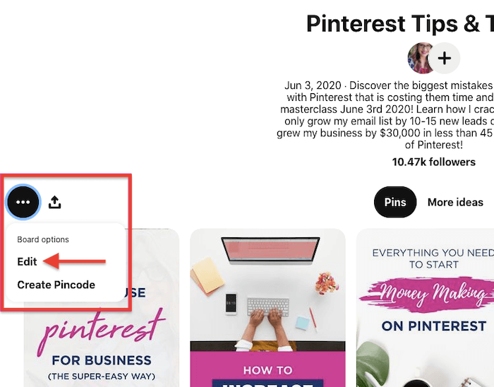 screenshot of a pinterest board with the three dots menu highlighted and the edit option identified