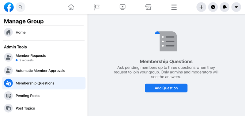facebook manage group option highlighting the membership questions option