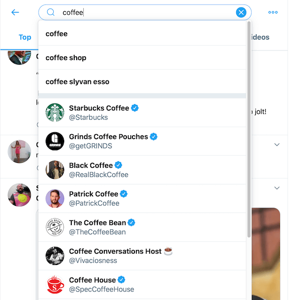 sample of search results from searching coffee in the twitter search box