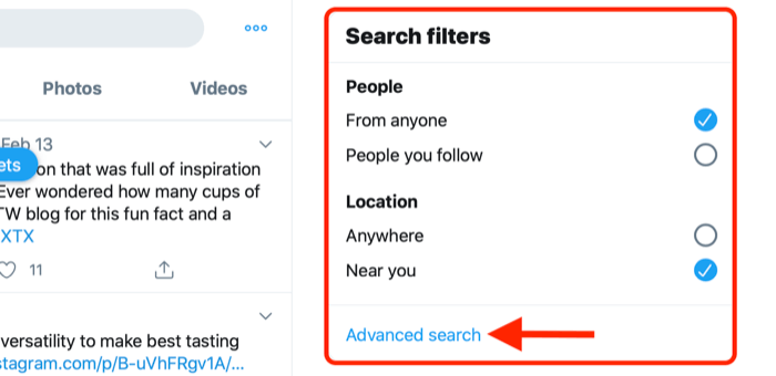 screenshot showing the advanced search link in the twitter search filters box
