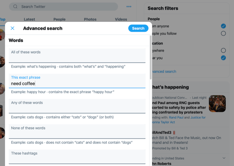 screenshot of the advanced search options with need coffee typed into the this exact phrase box