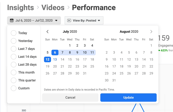 screenshot of facebook video performance insights calendar opened to specify dates for data