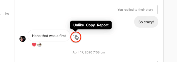 direct messages three-dots icon for received message with menu options showing options of unlike, copy, and report