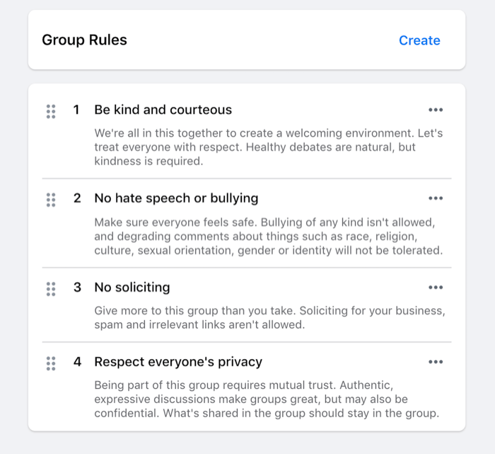 example of rules set for a facebook group such as be kind, no hate speech, no soliciting, etc.