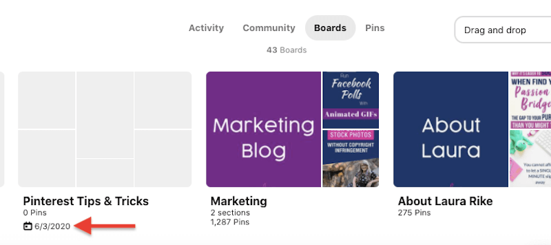 screenshot of several pinterest boards with the date of 6/3/2020 highlighted for the board titled pinterest tips & tricks