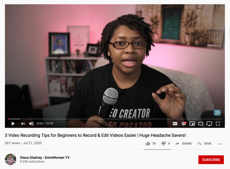 screenshot of an entrewoman tv video offering 3 tips for beginners to record and edit videos easier