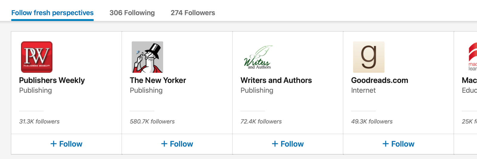 example of buttons recommended under the follow fresh perspectives tab