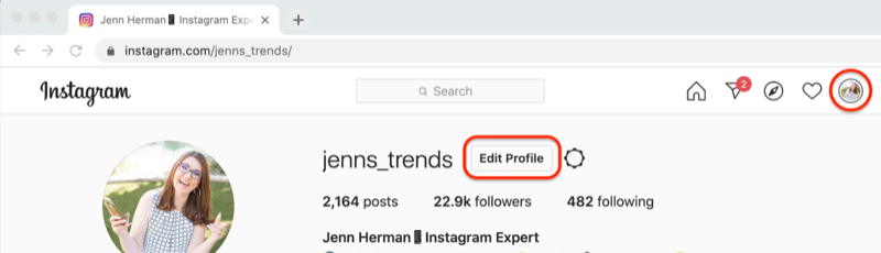screenshot of an instagram profile with the 'edit profile' button highlighted