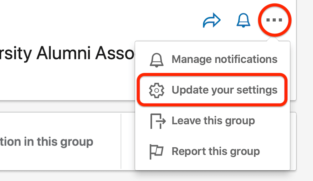 linkedin group three dots menu with the update your settings menu option highlighted