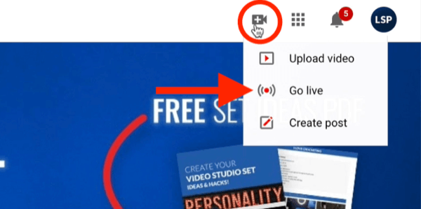 youtube video menu option to activate the go live ability for your channel