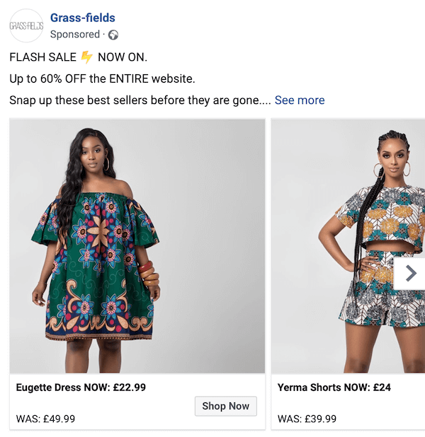 facebook carousel ad with summer styles by grass-fields promoting a flash sale with discount