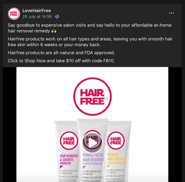 facebook post by lovehairfree noting their hair removal products by comparing them to expensive salon visits