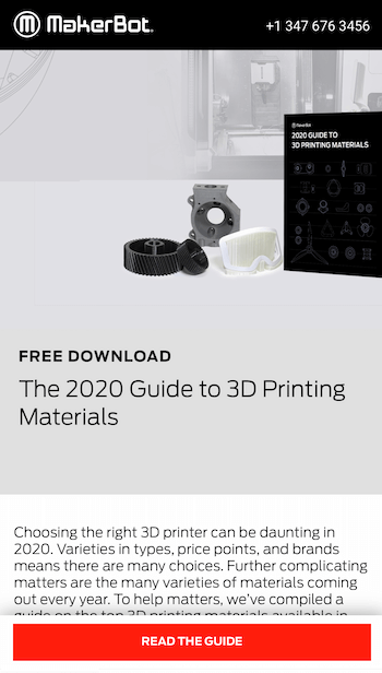 screenshot of a landing page from makerbot with a 'read the guide' call to action for their free download