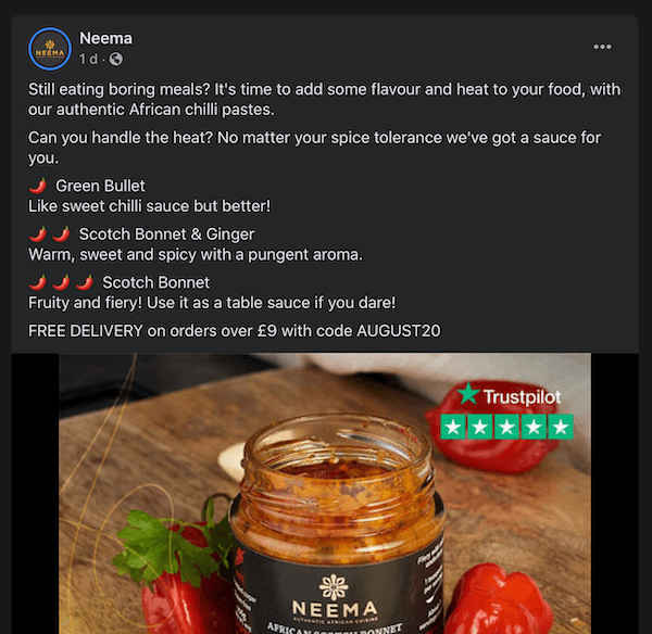 facebook post by neema discussing their different chilli pastes and offering a discount