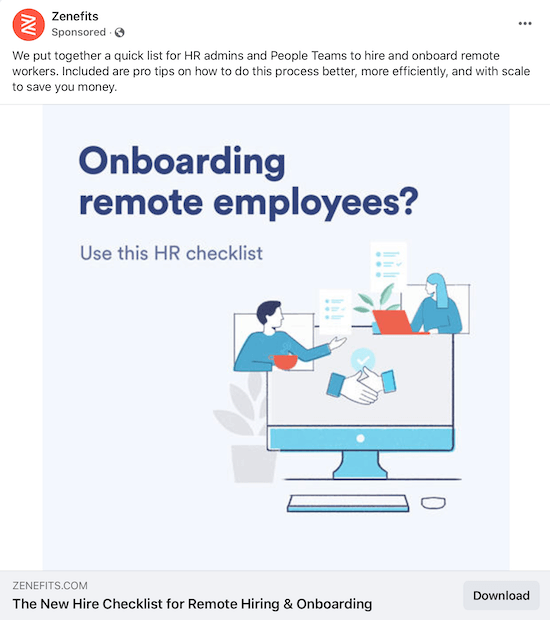 example of a sponsored lead magnet offer from zenefits offering an hr checklist for on-boarding remote employees
