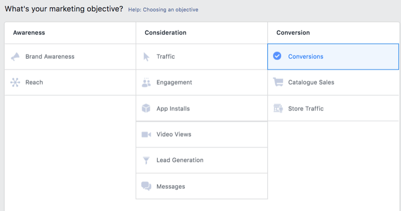 option in facebook ads manager to select conversions as a marketing objective
