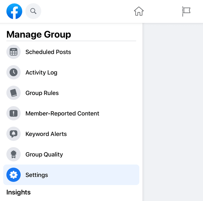 screenshot of the facebook manage group menu with the settings option highlighted