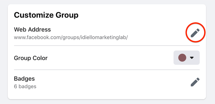 facebook customize group settings option highlighted to edit the web address