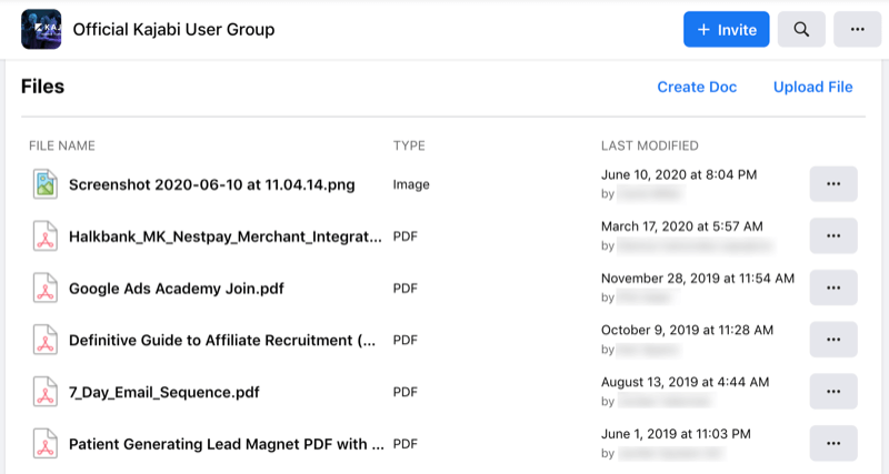 sample of the facebook group files tool by the official kajabi user group with several .pdf files and a .png screenshot