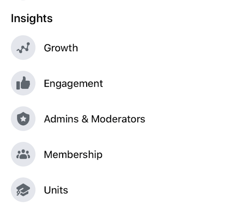 facebook insights menu showing various analytics measurement options