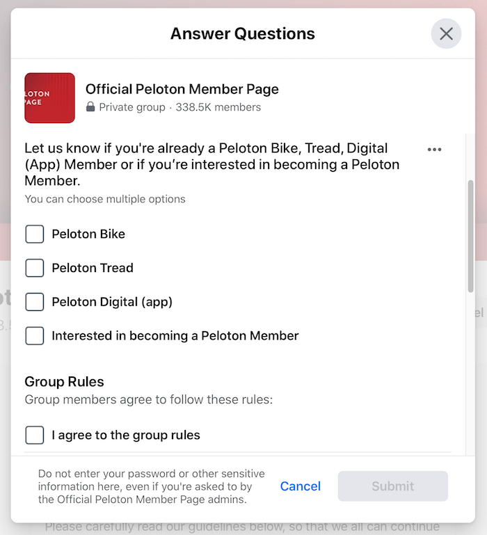 example of facebook group screening questions for the official peloton member page group