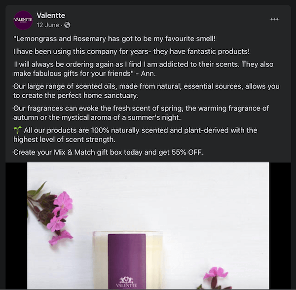 facebook post from valentte showing another testimonial technique for scented oils