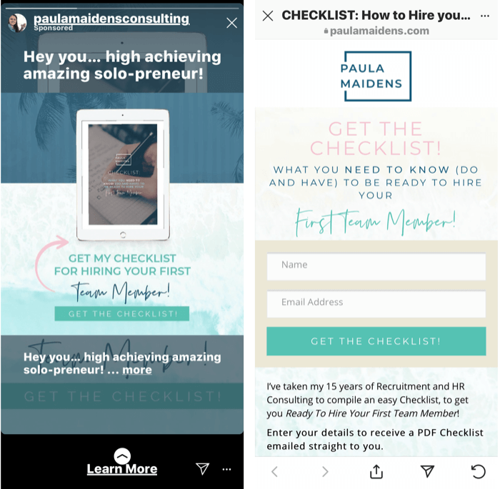screenshot of an Instagram Stories ad offering a free checklist for hiring your first team manager