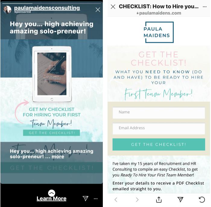 screenshot van een Instagram Stories-advertentie met een gratis checklist voor het aannemen van je eerste teammanager