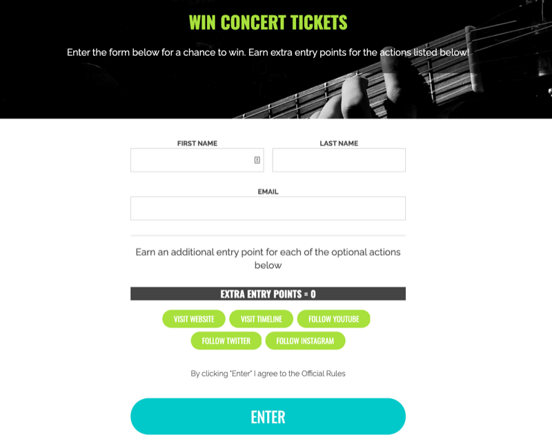 example of a giveaway to win concert tickets with extra entries offered for extra actions taken such as website visit, youtube follow, twitter follow, etc.
