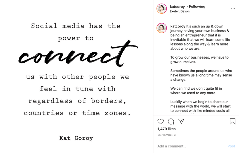 example of an instagram quote post with text primarily in block font with a few words in script text for emphasis