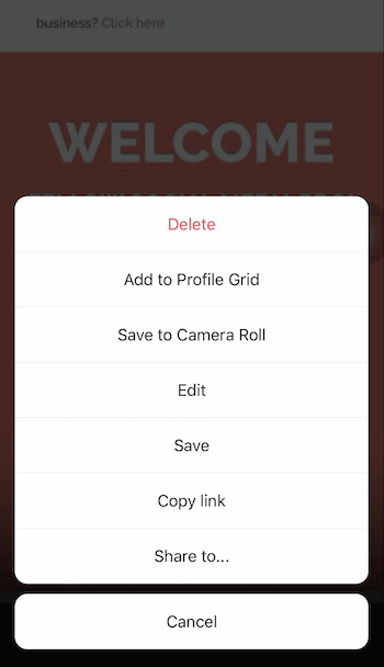 screenshot of instagram reels sharing menu options offering the ability to share to their profile, camera roll, copy link, or share to…