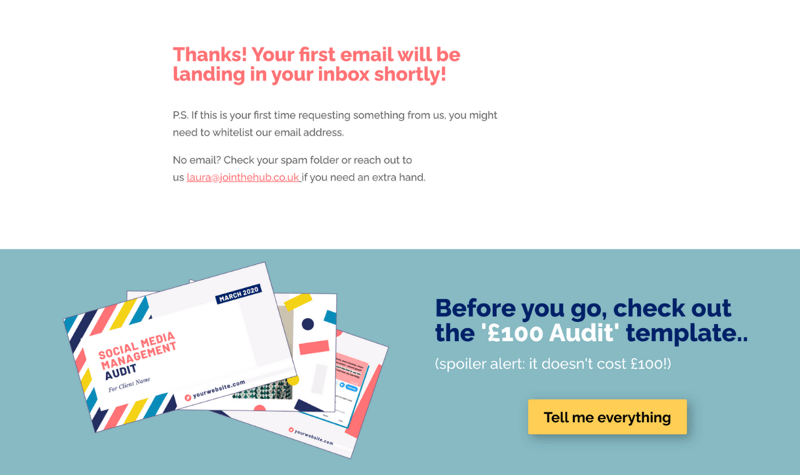 screenshot of an opt-in confirmation page with a bonus offer for a template