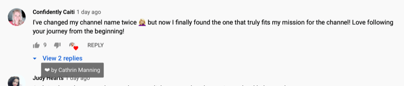 example of a viewer comment hearted by cathrin manning on her video within the first thirty minutes after publication