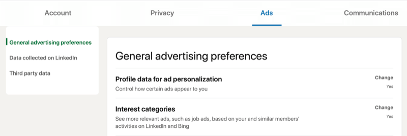 linkedin menu account settings for general advertising preferences