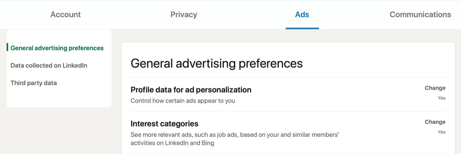 linkedin menu account settings for general advertising preferences