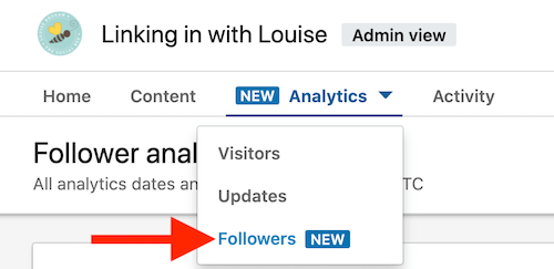 screenshot of linkedin menu option of followers under analytics